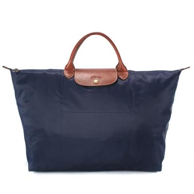 Longchamp 折疊大型水餃包(短提把/深藍色)