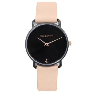 PAUL HEWITT Miss Ocean Line 黑錶面錶框 粉皮革錶帶手錶33mm