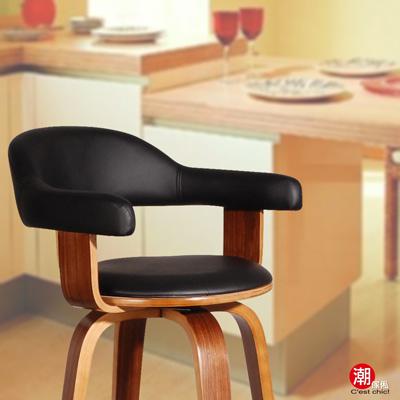 潮傢俬-Pablo帕布洛-高吧台椅(皮質)-黑