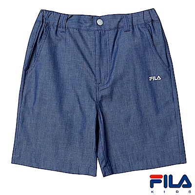 FILA KIDS 男童仿牛仔4分褲-藍 1SHS-4430-BU