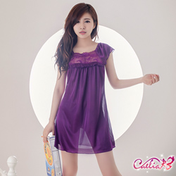 Caelia 紫丁香芬!柔緞小蓋袖睡衣