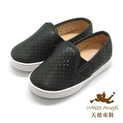 天使童鞋-D426B 中性百搭洞洞親子鞋(中-大童)-黑