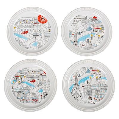LE CREUSET 瓷器圓盤19cm 4入 (美好巴黎)