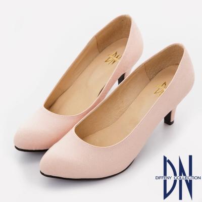 DN 時尚派對 質感壓紋金蔥尖頭跟鞋-粉