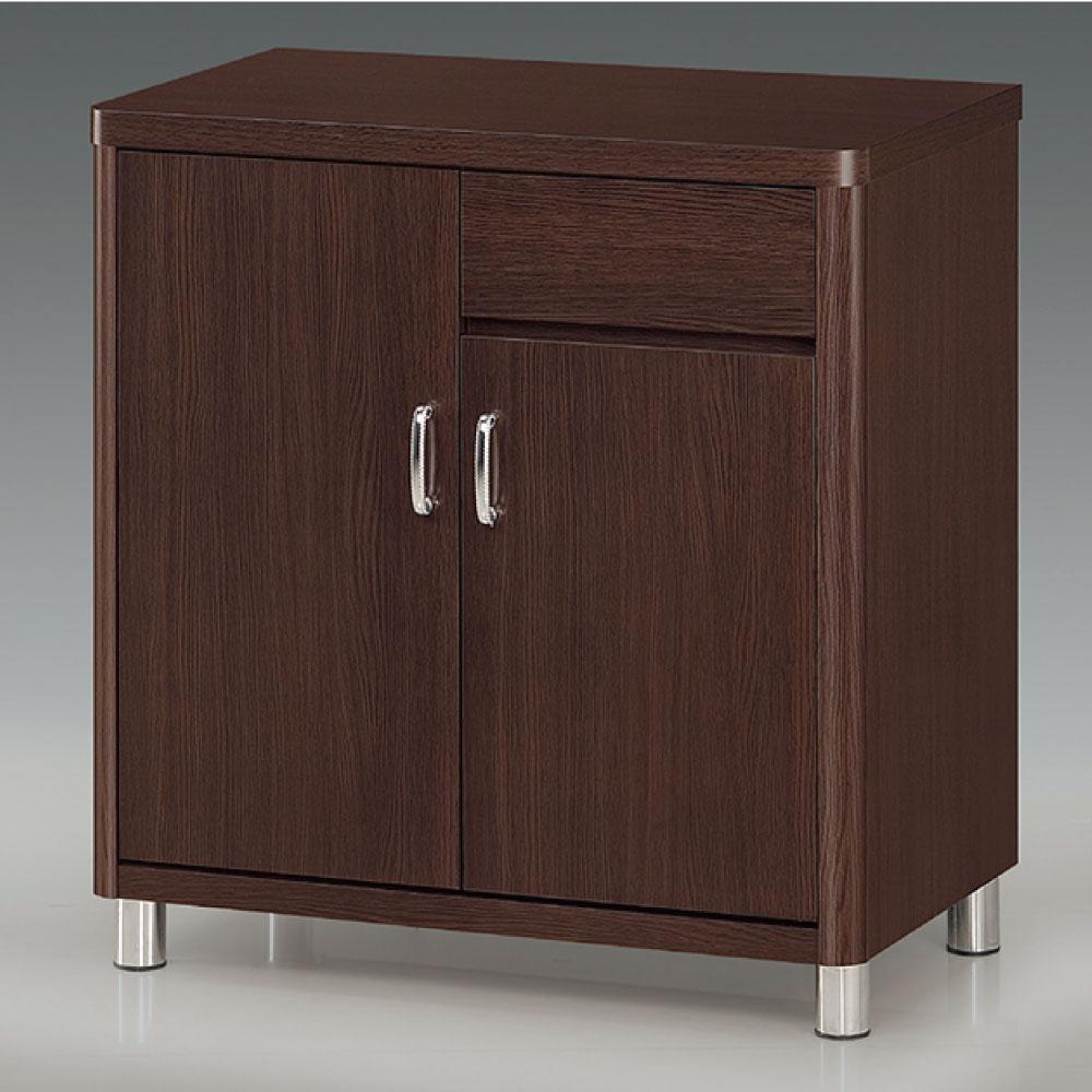 品家居 潔雅2.7尺胡桃色石面收納餐櫃