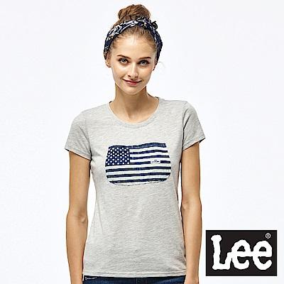 Lee 國旗口袋短袖圓領TEE-女款-灰