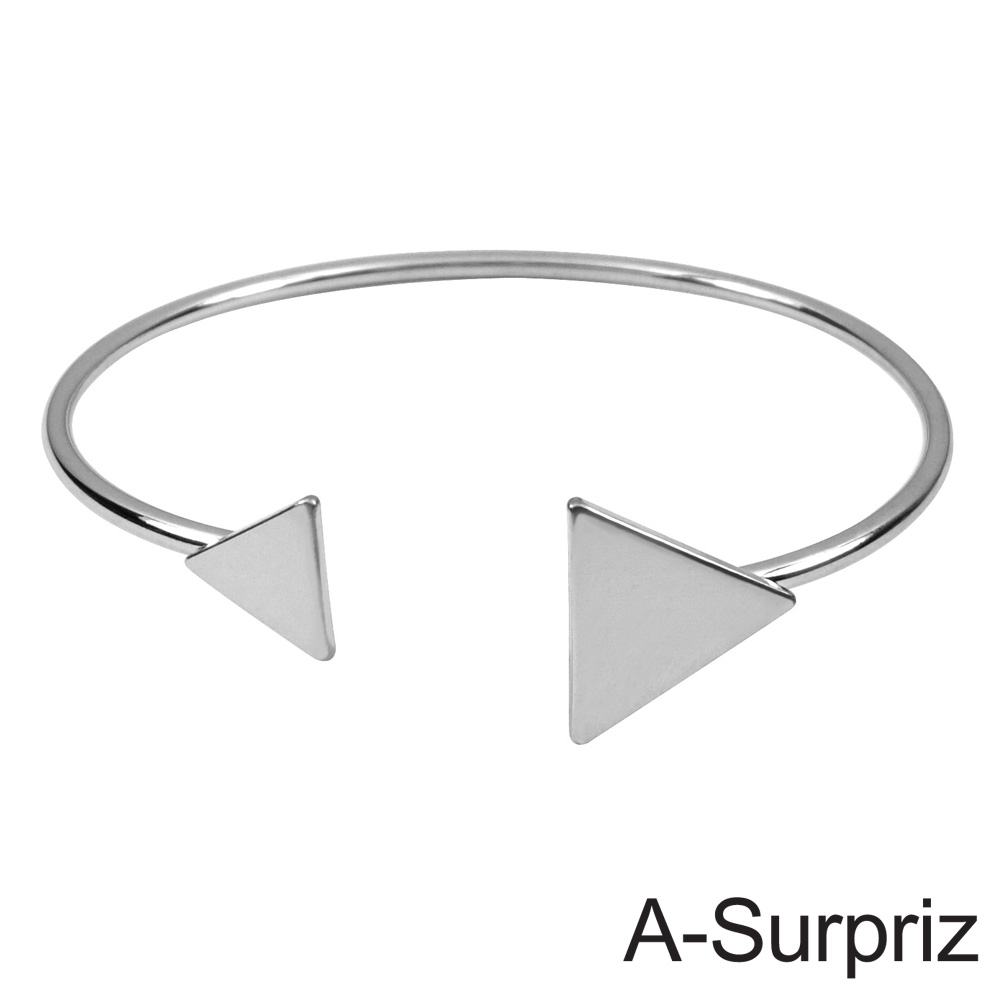 A-Surpriz 三角情懷造型開口手環(白K色)