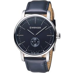 瑞士 WENGER Urban都會系列俐落美學指針腕錶-黑色42mm