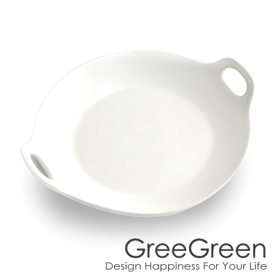 GREEGREEN 雙耳圓型陶瓷餐盤 9吋 白色 餐盤 點心盤 烤盤 (8H)