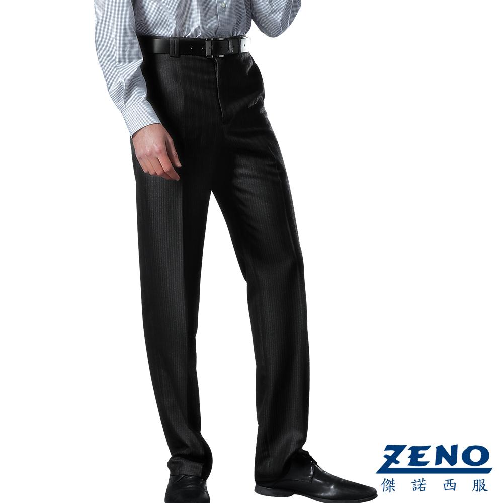 ZENO 厚暖刷毛條紋平面西裝褲‧深灰30-42