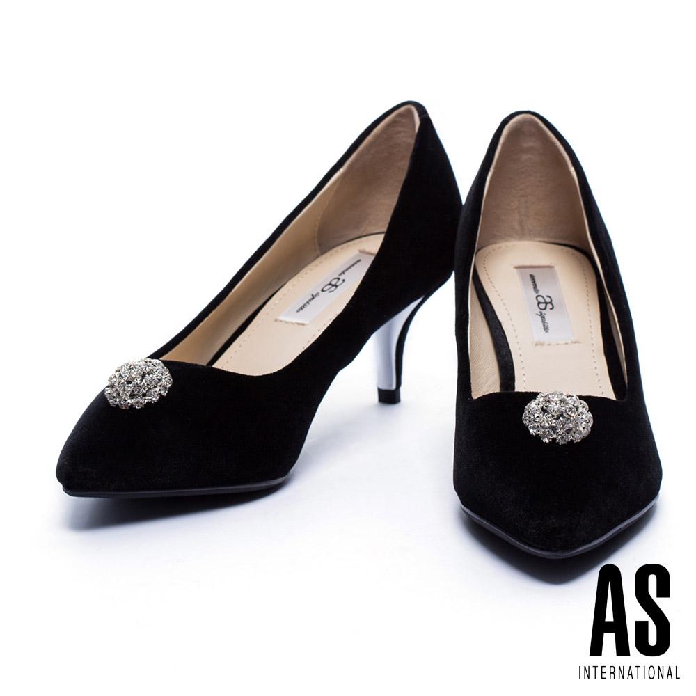跟鞋 AS 奢華優雅白鑽飾點綴絲絨尖頭跟鞋-黑