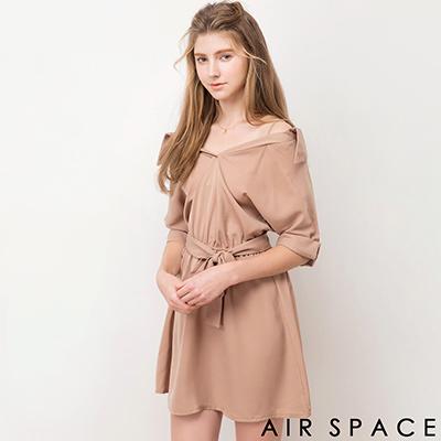 AIR-SPACE-細肩反摺袖襯衫領綁帶洋裝-杏