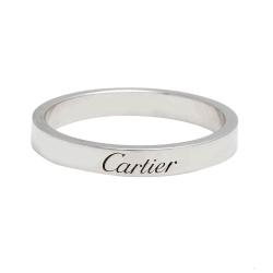 Cartier卡地亞 經典LOGO鐫刻鉑金細板男婚戒 (#60)