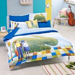 繪見幾米-星空 公車之戀 兔子枕套 單人兩用被床包組
