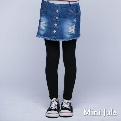 Mini Jule 童裝-內搭褲裙 牛仔排釦內搭褲裙(藍)