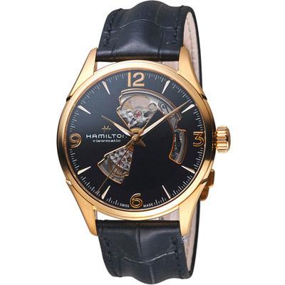 Hamilton JazzMaster 經典鏤空 機械錶-黑色x玫瑰金色/42mm