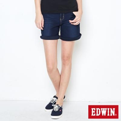 EDWIN 迦績褲 快乾五分牛仔短褲-女-原藍磨