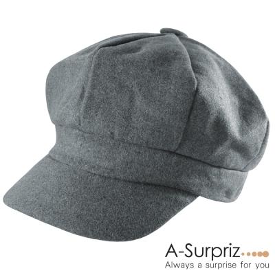 A-Surpriz  優雅淑女混毛呢貝雷帽(深灰)