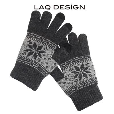 LAQ DESiGN 3TIPS 雪花圖案三指觸控手套深灰