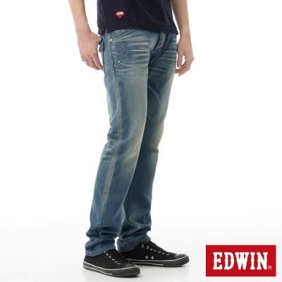 EDWIN 窄直筒 江戶勝紅布邊海浪牛仔褲-男-中古藍