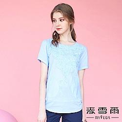 【麥雪爾】純棉日系鑲鑽立體花上衣-藍