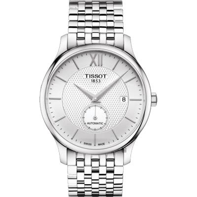 TISSOT天梭 Tradition 小秒針機械錶-銀/40mm T0634281103800