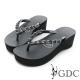 GDC-水鑽楔型厚底夾腳人字拖鞋-黑色
