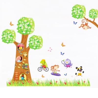 C-007手繪動物系列-卡通樹屋 大尺寸高級創意壁貼 / 牆貼