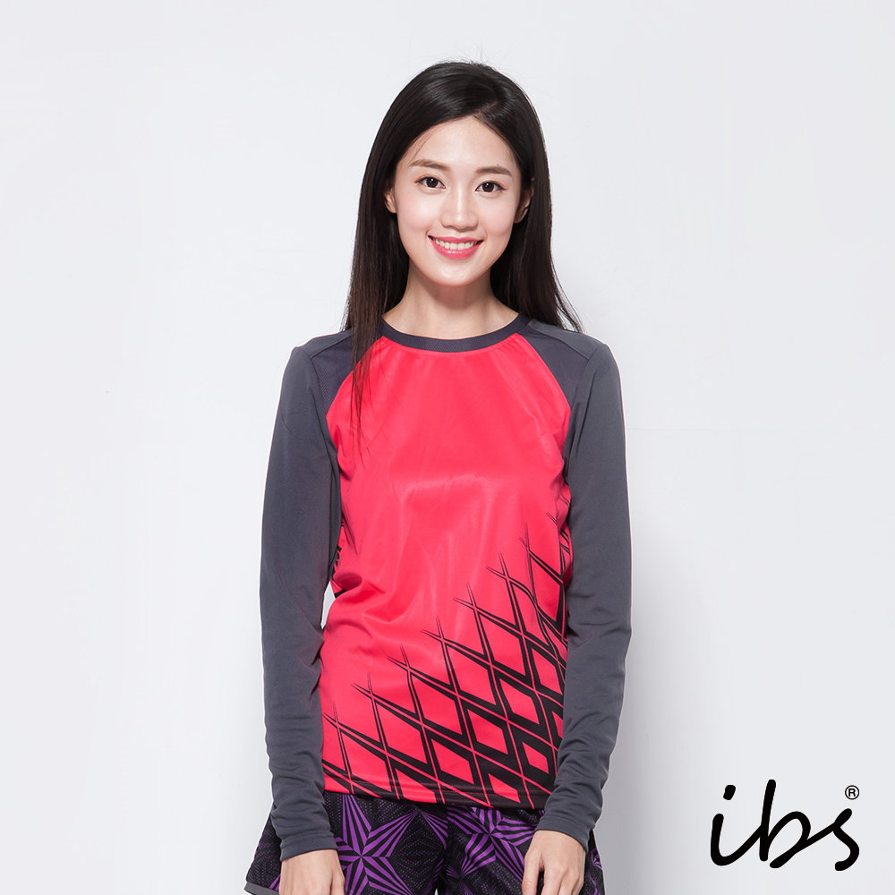 ibs機能吸排運動衫-熱轉印花-桃紅/灰