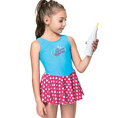 沙兒斯兒童泳裝愛心連身裙女童泳裝