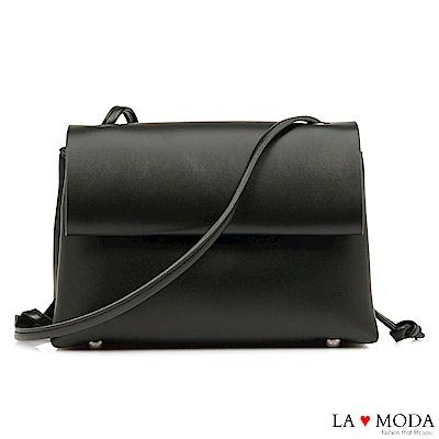 La Moda 質感女孩~經典百搭磁釦式細帶肩背斜背包(黑)