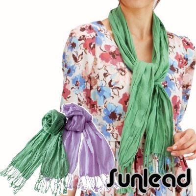 Sunlead  防曬純色純棉輕量透氣遮陽圍巾/披巾/領巾 (草綠色)