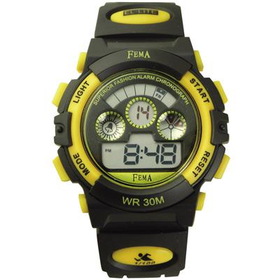 FEMA 繽紛年華 計時鬧鈴 數位休閒錶(P279G)-黑X黃/37mm