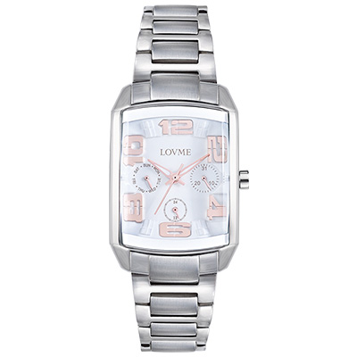 LOVME 魔幻立體空間時尚腕錶-銀白/29mm