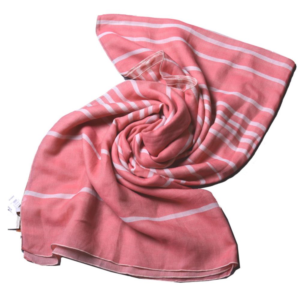 COACH 雙色橫條紋披肩式大方巾/脖圍巾-粉紅/白COACH