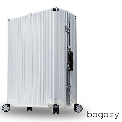 Bogazy 復刻經典 29吋PC鋁框鏡面行李箱 (白)