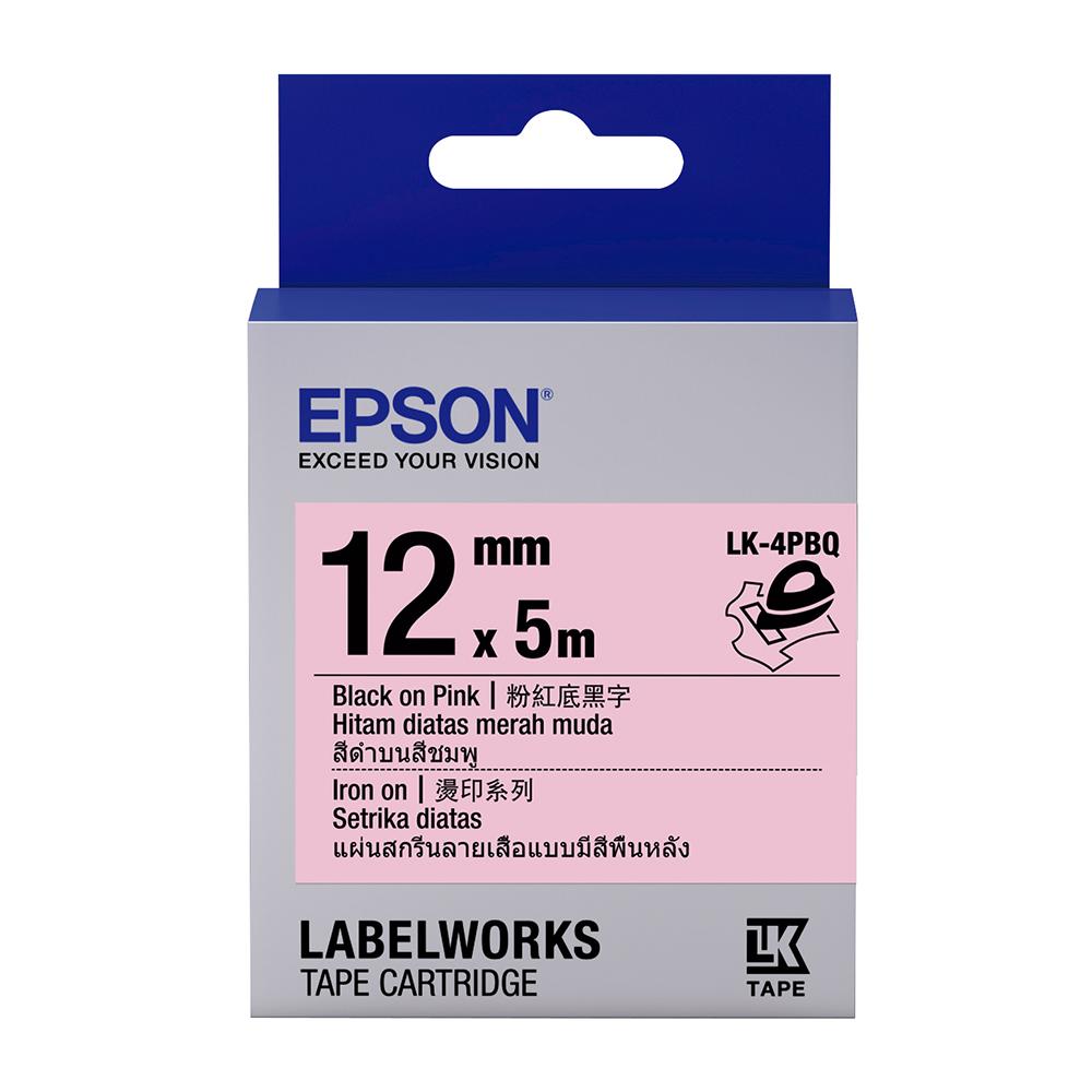 EPSON C53S654444 LK-4PBQ燙印系列粉紅底黑字標籤帶(寬度12mm)