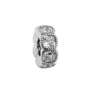 Pandora 潘朵拉 方形鑲鋯環狀扁珠 純銀墜飾 串珠