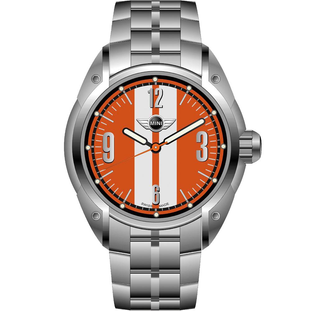 MINI Swiss Watches  休閒運動腕錶-白+橘鋼帶款/45mm