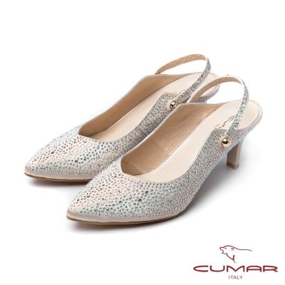 CUMAR活力花綴-小V口貼鑽後空兩穿式高跟鞋-金