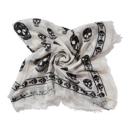 Alexander McQueen 經典骷髏流蘇邊混紡絲巾(白色)