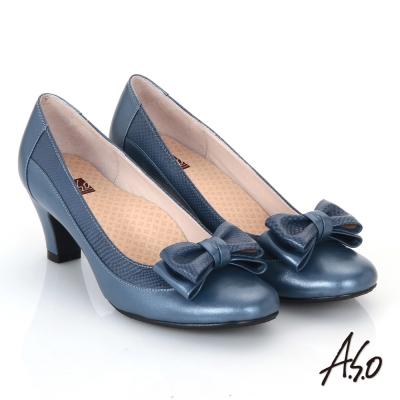 A.S.O 3E舒活寬楦 真皮立體雙層蝴蝶結飾高跟鞋  藍