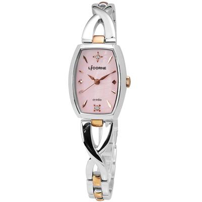 LICORNE力抗 entree 晶鑽彩貝不鏽鋼手錶-粉紅色x玫瑰金色/20mm