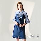OUWEY歐薇 吊帶格紋牛仔兩件式洋裝(藍)-動態show