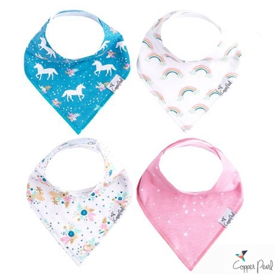 Copper Pearl 美國 彩虹獨角獸雙面領巾圍兜口水巾4件組