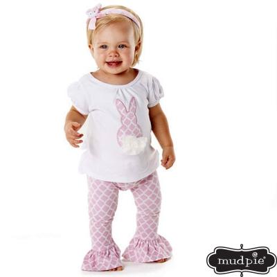 Mud Pie 粉紅兔子上衣菱格內搭褲套裝兩件組