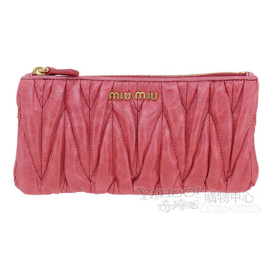 MIU-MIU-經典Coffe抓皺設計小羊皮拉鍊手拿零錢包-粉紅
