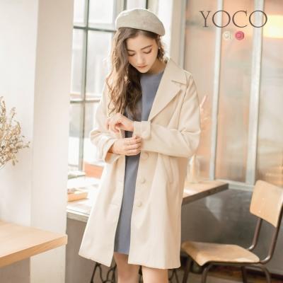 東京著衣-yoco 法式輕甜毛呢口袋長大衣-S.M.L(共二色)