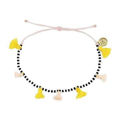 Pura Vida 美國手工 黃色流蘇彩珠系列 淺粉色臘線可調式手鍊防水衝浪手繩