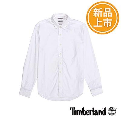 Timberland 男款紗染白色修身版牛津襯衫